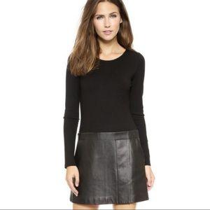 Theory Bowmont Lambskin Leather Dress